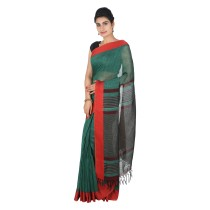Handmade Green Linen Saree by Weavers of Bihar