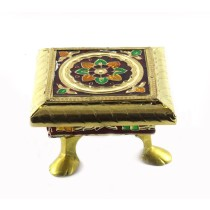 Authentic Meenakari Wooden All Purpose Chowki by Rajasthani Artisans