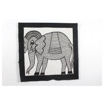Exclusive Black & White Elephant Madhubani Painting by Artist from Bihar