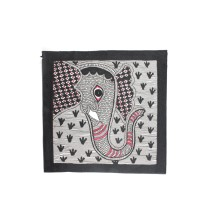 Multicolor Elephant Grazing Madhubani Painting by Artist from Bihar