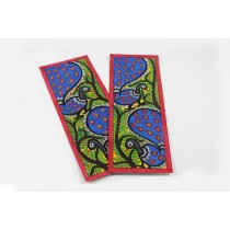 Handmade Peacock Pair Madhubani Bookmarks by Artist from Bihar