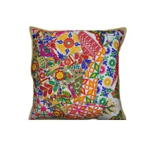 Beautiful Multicolor Large Ethnic Cushion Cover by Artisans of Gujarat