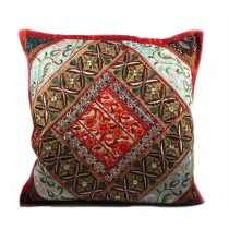 Ethnic Maroon Golden Large Cushion Cover by Artisans of Gujarat