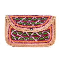 Colorful Leather Embroidery Hand Purse Pouch Bag by Artisans from Rajasthan