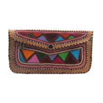 Exclusive Leather Embroidered Hand Purse Pouch by Artisans from Rajasthan