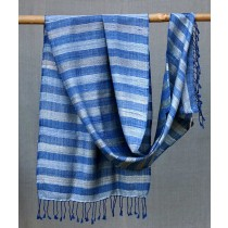 Blue Silver Tussar Silk Merino Wool Stole by Artisans from Uttrakhand