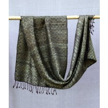 Black And Gold Eri Silk Merino Wool Stole by Artisans from Uttrakhand