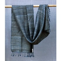 Blue And Silver Tussar Silk Merino Wool Stole by Artisans from Uttrakhand