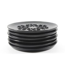 Black Exclusive Handcrafted Jaali Design Coasters (6) by Artisans from Agra
