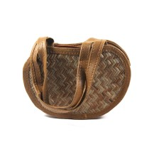 Brown Sitalpati Shoulder Bag Apple Shape by Artisans from West Bengal