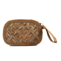 Brown Sitalpati Small Pouch Wallet by Artisans from West Bengal