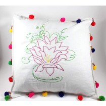 Designer Pink & Green Hand Embroidered Cushion Cover by Women SHGs