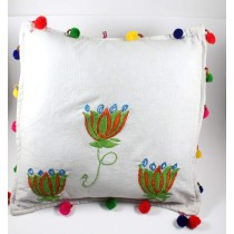 Designer Green Flower Hand Embroidered Cushion Cover by Women SHGs