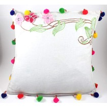 Designer Pink Flower Hand Embroidered Cushion Cover by Women SHGs