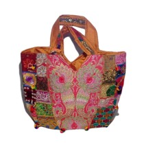 Handmade Excellent Orange Genuine Shoulder Bag  with embroidery work  by Women Self Help Groups of Rajasthan