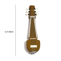 Handmade Crafted Showpiece Wooden Miniature Magnetic Sarod (Size:- 6.75 Inch)