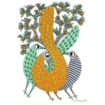 Multicolor Handmade Dancing Peacock Gond Painting by Tribal Artist