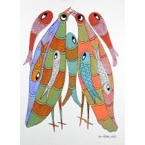 Multicolor Handmade Fish & Sparrow Gond Painting by Tribal Artist