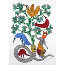 Buy Multicolor Handmade Snakes & Birds Gond Painting-India Meets India