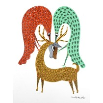 Multicolor Handmade Deer  With Two Peacock Gond Painting by Tribal Artist