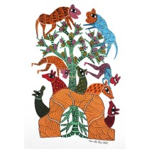 Multicolor Handmade Nature Jungle Gond Painting by Tribal Artist