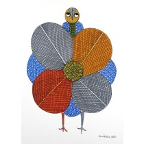 Multicolor Handmade Angry Peacock Gond Painting by Tribal Artist