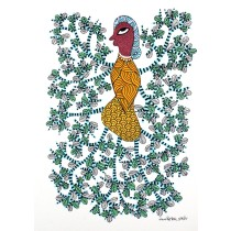 Multicolor Handmade Abstract Tree of Life Gond Painting by Tribal Artist