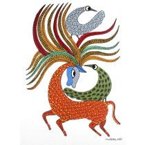 Multicolor Handmade Bird Playing With Deer Gond Painting by Tribal Artist