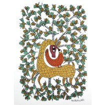 Multicolor Handmade Deer In Jungle Nature Gond Painting by Tribal Artist