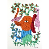 Multicolor Handmade Elephant Playing in Jungle Gond Painting by Tribal Artist