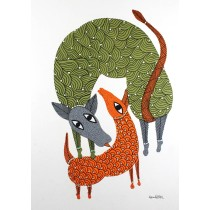 Multicolor Handmade Happy Deer Family Gond Painting by Tribal Artist