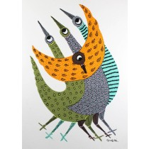 Multicolor Handmade Flock of Birds Nature Gond Painting by Tribal Artist
