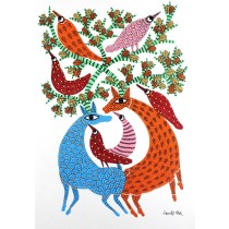 Multicolor Handmade Animal And Birds Nature Gond Painting by Tribal Artist