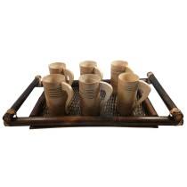 Handmade Natural Bamboo Serving Tray + Glass 6  by Artisans from North East India