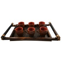 Handmade Natural Bamboo Serving Tray + Kulhar (Kulhad) 6 by Artisans from North East India