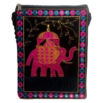 Handmade Excellent Black Genuine Sling Bag with embroidery work  by Women Self Help Groups of Rajasthan