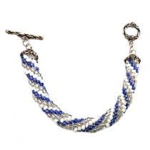 Handmade White/Blue Bracelet (BL) by Women Groups