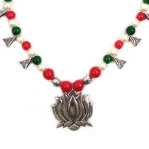 Handmade Costume Fashion Jewelry Red/Silver/Green Necklace & Earrings (NER) by Women Groups