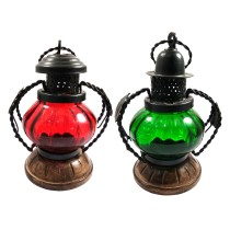 Exclusive Handmade Decorative Green & Red T-Lite Candle Holder Lamp Set Of 2 by Awarded Artisans