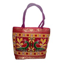 Handmade Excellent Pink Genuine Shoulder Bag  with embroidery work  by Women Self Help Groups of Rajasthan