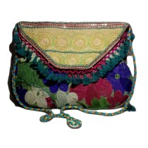 Handmade Excellent Multicolor Genuine Shoulder Bag  with embroidery work  by Women Self Help Groups of Rajasthan