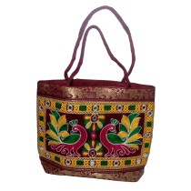 Handmade Excellent Maroon Genuine Shoulder Bag  with embroidery work  by Women Self Help Groups of Rajasthan