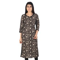 Grey Black block printed khadi cotton long kurti