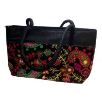 Handmade Excellent Black Genuine Shoulder Bag  with embroidery work  by Women Self Help Groups of Rajasthan