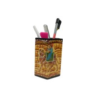 Exclusive Handmade seasoned wood Yellow Pen Holder by Awarded Artisans