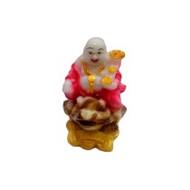 Handmade Excellent Pink Marble Art Lord Laughing Buddha Ji Showpiece  by Awarded Indian Rural Artisan