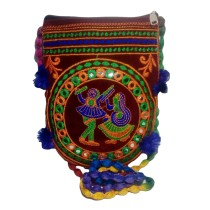 Handmade Excellent Maroon Genuine Sling Bag with embroidery work  by Women Self Help Groups of Rajasthan