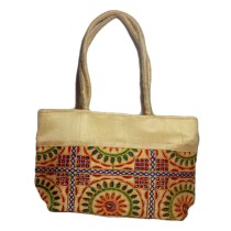 Handmade Excellent Cream Genuine Shoulder Bag  with embroidery work  by Women Self Help Groups of Rajasthan