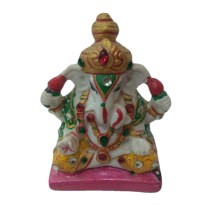 Handmade Excellent Multicolor Marble Art Lord Ganesha Ji Showpiece  by Awarded Indian Rural Artisan