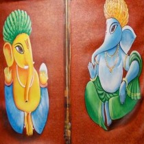 Exclusive Twin Ganeshas Wall Hanging by Differently Abled Artist